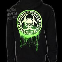 Zombie Response Glow In The Dark Zip Hood - Darkside Clothing