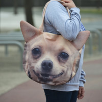 Chihuahua tote bag, Chihuahua bag, dog portrait bag, dog print tote, pet portrait bag, pet lover bag, D035
