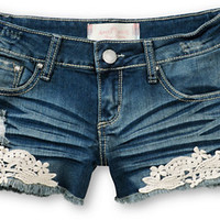 Almost Famous Kara Crochet Medium Wash Denim Shorts