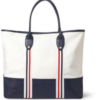 Thom Browne - Leather and Canvas Tote Bag | MR PORTER