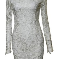White Lace Draped Back Long Sleeve Dress