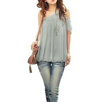 Ladies Cut Out Shoulder Semi Sheer Casual Chiffon Top Shirt