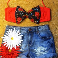 Red Floral Bow Bikini Top from The Bowkini