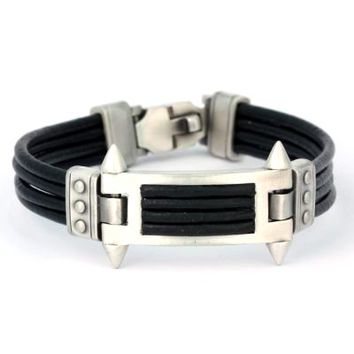 BICO AUSTRALIA JEWELRY - BRACELET (CA29BLK) - PHALANX - United We Stand - Black Leather - MORE SIZES AVAILABLE - Braided Leather Bracelets - CA Bracelets - Bico Bracelets