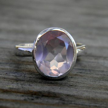 Oval Cut Petal Pink Rock Fetish Ring in Sterling by onegarnetgirl