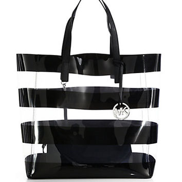MICHAEL MICHAEL KORS Eliza Large Striped Vinyl Tote