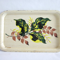 Vintage Tin Faux Wood Serving Tray with Tropical Leaf Print
