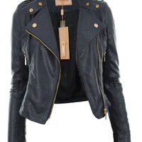 Gracious Girl Women's Diana Faux Leather Biker Crop Jacket