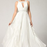 3071 WHITE RHINESTONE HALTER LONG GOWN EVENING DRESS