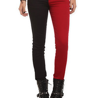 Royal Bones Blood Red And Black Split Leg Skinny Jeans