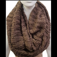 Keeping You Warm SALE: Thick Warm and Cozy Chunky Knit Mocha Infinity Scarf