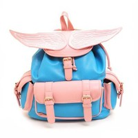 Stylish Candy Color Angel Wing Contrast Color Backpack Travelling Bag