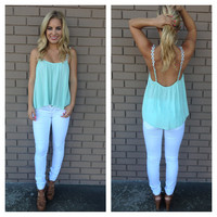Mint & White Daisy Strap Low Bank Tank