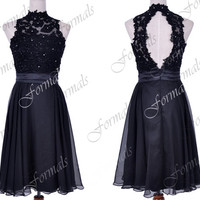 Short Prom Dresses, Straps Lace / Chiffon Knee Lnegth Black Cocktail Dresses, Formal Gown, Black Prom Dresses, Wedding Party Dresses