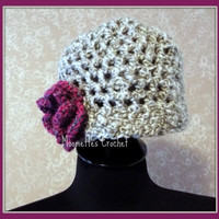 Girls Hat Soft Warm Light Gray Cloche Grey Beanie Flower Corsage Handmade Crochet