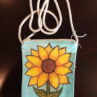 Hand Painted Sunflower Purse on a String