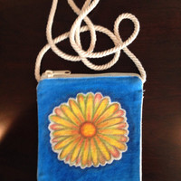 Hand Painted Daisy Purse on a String