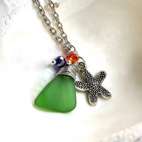 Sea Glass Necklace - green seaglass & starfish for beach brides, Hawaiian jewelry by Mermaid Tears Hawaii