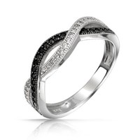 Bling Jewelry Sterling Silver Black and White Pave CZ Twist Infinity Band Ring