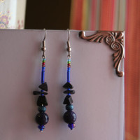 Earthwear: Gemstone Earrings ~ Purple Fossil Stone, Sparkling Blue Goldstone, Natural Stone, Wood, and Glass