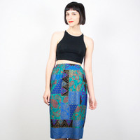 Vintage Midi Skirt Pencil Skirt Tulip Skirt Teal Blue Black Green Pink Gold India Scarf Print Paisley knee Length Skirt S Small M Medium
