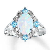 Lab-Created Opal Ring Blue Topaz & Diamonds Sterling Silver