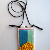 Colorblock embroidered pendant in mint blue violet and yellow glass beads on dark brown leather cord for Spring