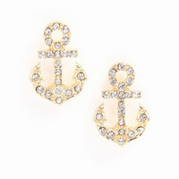 Rhinestone Anchor Earrings - LoveCulture