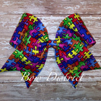 "3"" Autism Awareness Cheer Bow"