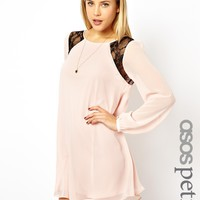 ASOS PETITE Exclusive Lace Insert Shift Dress with Bell Sleeves