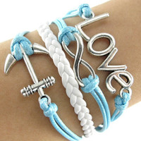 Anchor Infinity Love Sky Blue Bracelet