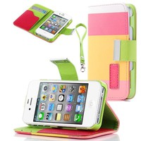 Cocoz® Colorful Pu Leather Wallet Type Magnet Design Flip Case Cover for Iphone 4 4g 4s Color Diamond Dust Plug (Pink Yellow Green)fs-00298