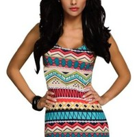 Amour Women's Retro Aztec Print Bodycon Dress