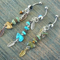 PICK A zuni bear belly ring gemstone green turquoise in tribal native american inspired boho gypsy hippie belly dancer and hipster style