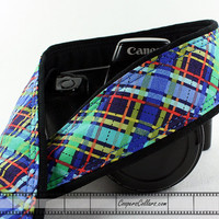 Blue Plaid Camera Strap, dSLR or SLR, Aqua, Bias Plaid, 106