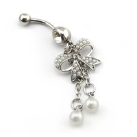 2014 New Fashion Xmas Sale! 14G Unique Pearl Butterfly Bow with 2-Tassel Bowknot Dangle Navel Ring Belly Bar Button