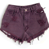 "The ""Purple Haze"" Purple high waisted shorts. Umbre high waisted shorts. American Apparel. Indie Fashion. Denim. Frayed. Hippie."