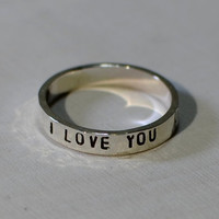 I love you fitted sterling silver stacking ring