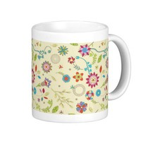 Vintage Butterfly Flower Pattern Coffee Mug