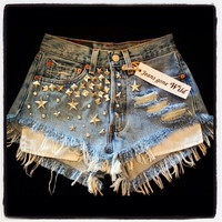 High waist destroyed denim shorts super frayed with and super studded size Sm