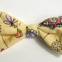 Funky Orange and Pink Flowers on Yellow Hair Bow Clip