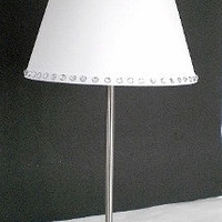WHITE & BLING Silver Lamp - Silver Decor Lamp and White Lamp Shade w/ Clear Rhinestones