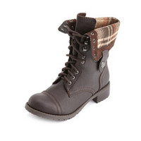 DISTRESSED FOLD-OVER COMBAT BOOTS