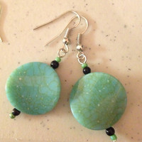 CLEARANCE! Was 8.99 Twisted Round Aqua Green Dangle Earrings