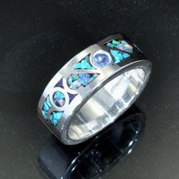 Mosaic Inlay Silver Band with Ceylon Sapphire AStone | JewelerJim - Jewelry on ArtFire