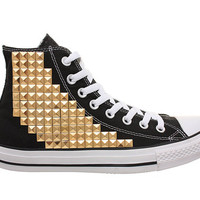 Studded Converse, Converse Black High Top with Gold Pyramid Studs by CUSTOMDUO on ETSY