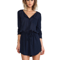 Michael Stars Long Sleeve Shirt Dress in Navy