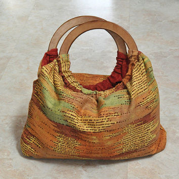 ON SALE pouch bag -- orange, green, yellow, red, multicolored with round wooden handles