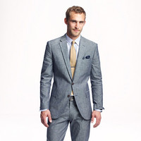 Ludlow suit jacket with double vent in Japanese chambray - Springlookbook - Men - J.Crew