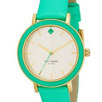 kate spade new york 'metro' enamel bezel leather strap watch, 38mm | Nordstrom